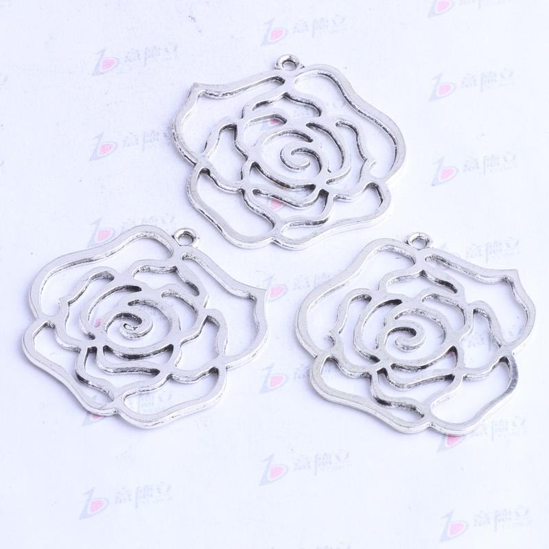 antiquité argent / bronze creux rose fleur pendentif rétro fabrication bijoux bricolage pendentif fit collier ou bracelets charme 150pcs / lot 2413