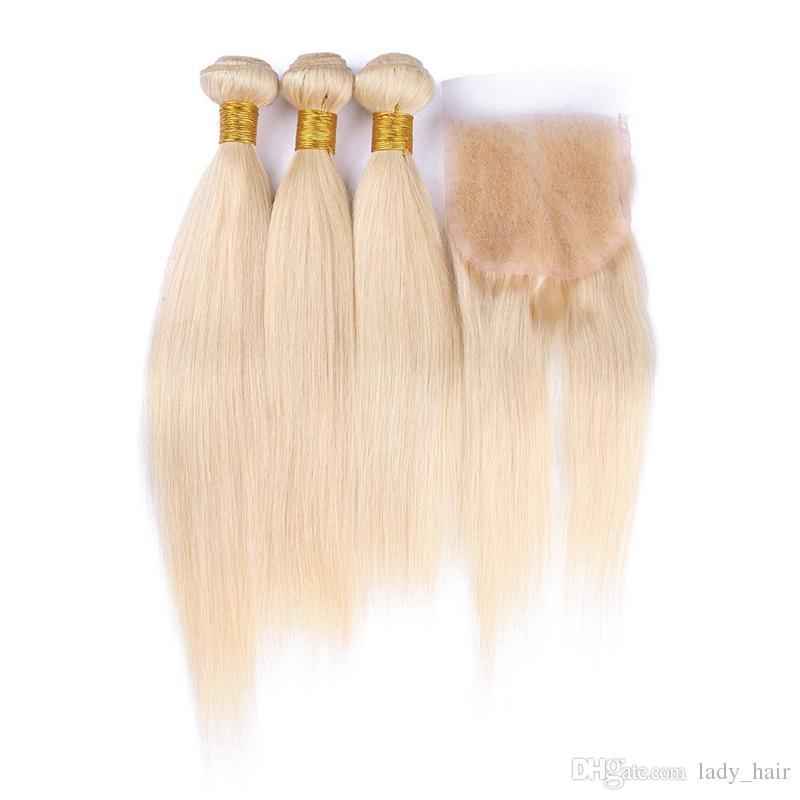 Stock Brésilienne Blonde Vierge Cheveux Avec Fermeture 4 Pcs Lot Soyeux Droite 613 Bleach Blonde Dentelle Fermeture Avec Cheveux Humains Brésiliens 3Bundles