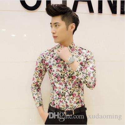 أحدث أزياء رجالية الزهور الأزهار جديد تريند حجم قميص رجالي كم طويل القميص شحن مجاني الصيف