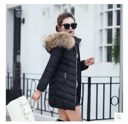 Nouveau mode Veste hiver femme grand col fourrure de raton laveur artificielle Veste à capuchon épais manteau pour les femmes Outwear Parka