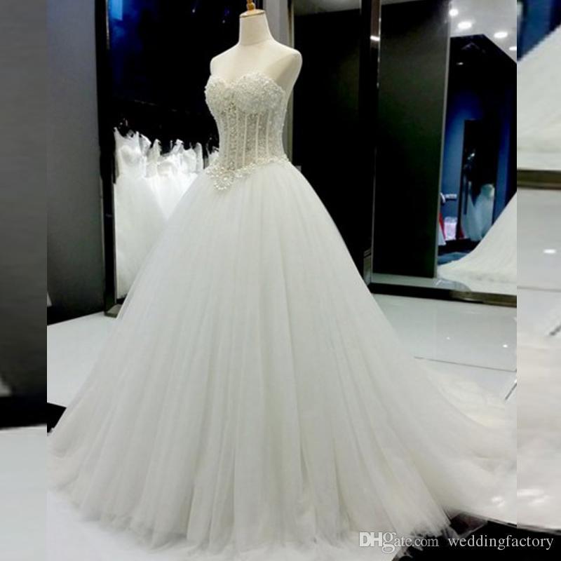 Splendida linea A Abito da sposa Perle di lusso Perle Senza maniche Top in tulle Abiti da sposa Abiti da sposa di alta qualità Custom Made