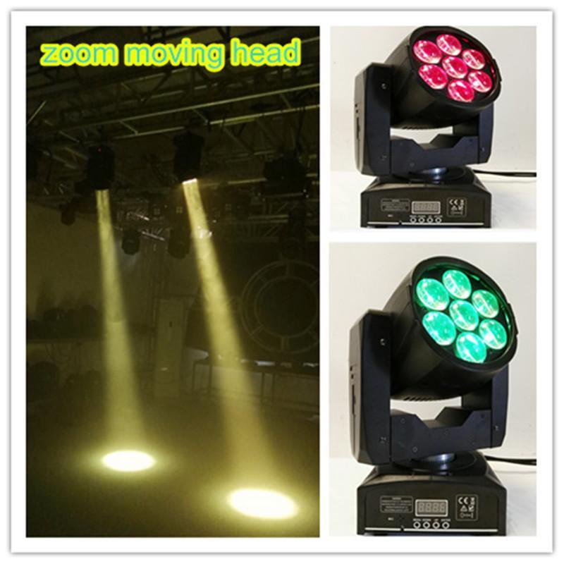 4pcs / lot 7x12w rgbw mini bewegliche Hauptwäsche führte bewegliches Hauptlichtzoom-Stadiumslicht dmx