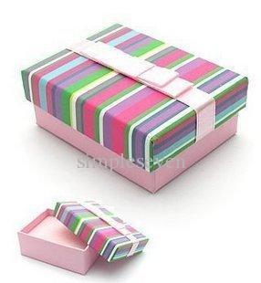 [Simple Seven] couleur arc-en-Bracelet boîte / festival Stripe boucle d'oreille de cas / coloré Pendentif Afficher / Spécial cadeau de boîte à bijoux avec ruban (Petit)