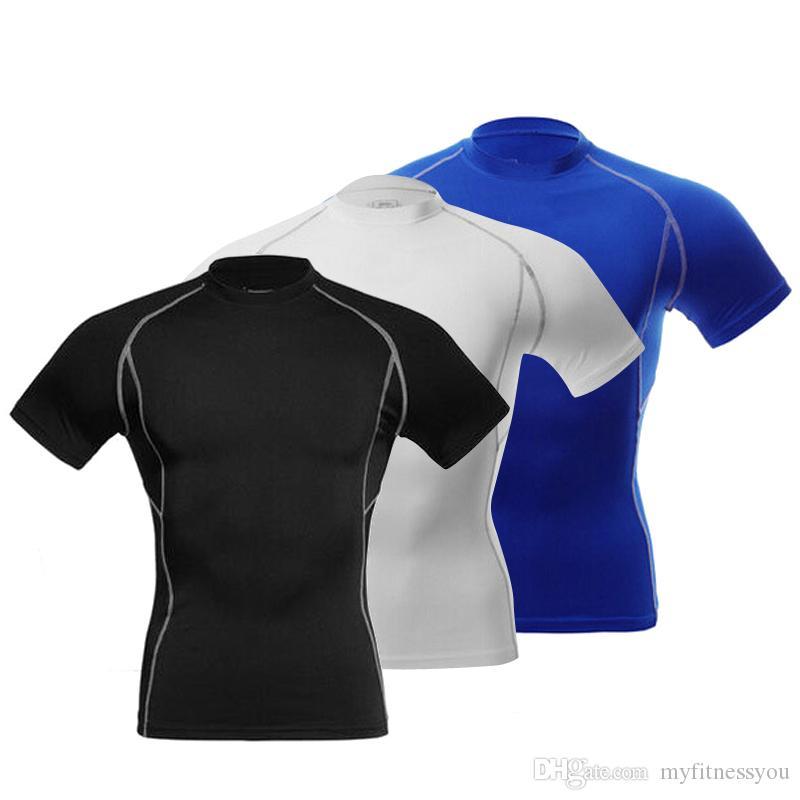 2020 Мужской Gym Запуск T-Shirt Man Compression Теннис Баскетбол Спорт Tight Top тройники для оздоровительной тренировки Wear Спортивного Gym Одежды