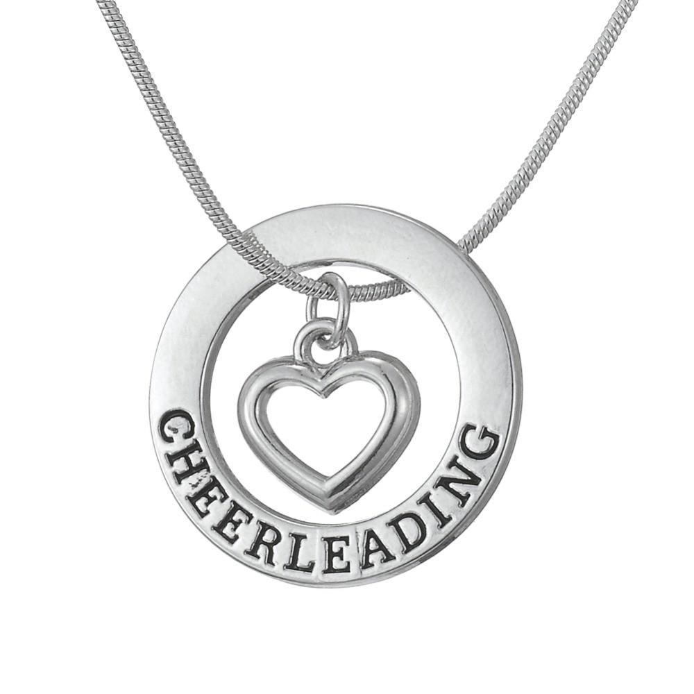 Drop-Shipping-Cheerleading-Affirmation-Washer-Heart-Love-Pendant-Cheerleader-Cheer-Cheering-Necklace-Teen-Girls-Birthday-Gift