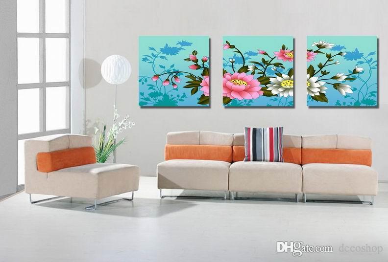 Moderna Bela Flor Fina Pintura Floral Giclee Impressão Na Lona Home Decor Wall Art Set30334