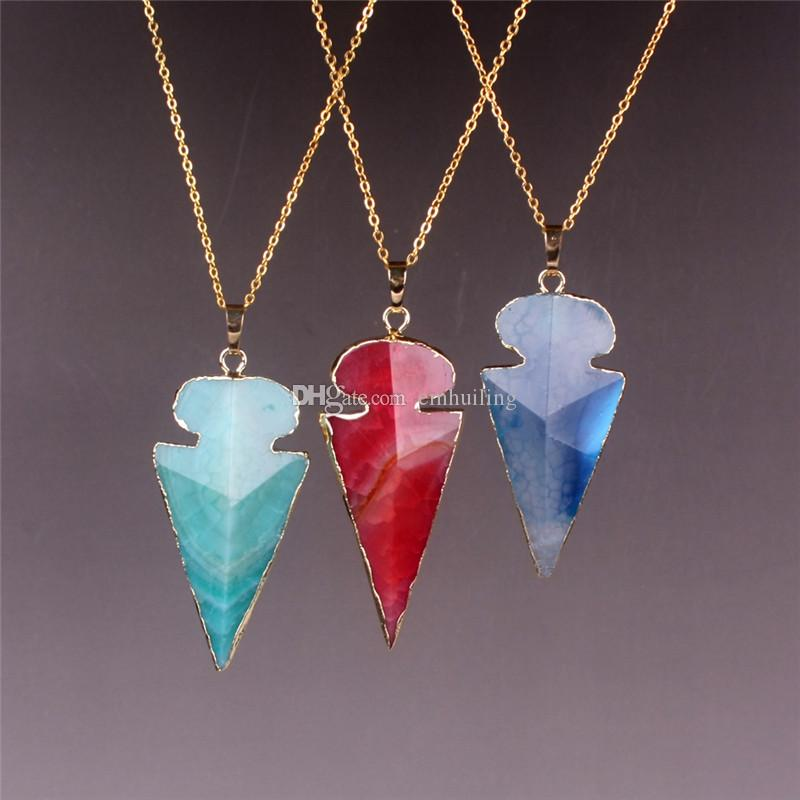 Green Blue Red Natural Agate Geode Jade Necklace Faceted Arrow Pointed Shape 2016 Hot Boho Women Fashion Vintage Ethnic Style Bohemia Neck