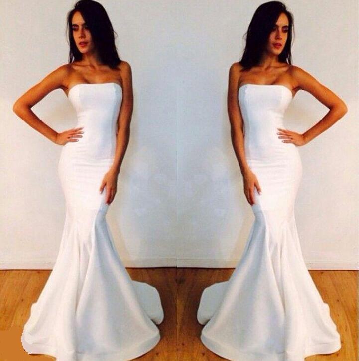 Abendkleider Trägerlos Lange Weiße Meerjungfrau Michael Costello Formelle Kleider
