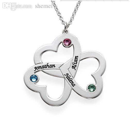 Nome personalizzato all'ingrosso Triple Love Hearts Birthstone Collana pendente, mano timbrato gioielli collana mamma regalo gioielli coppia
