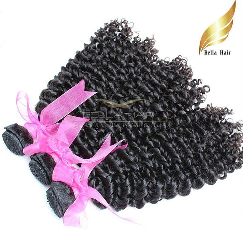 """Mogolian Hair Extension Curly 3PC / LOT Ludzki Włosy Wefts 8 """"-30"""" Wiązki Włosów Produkt Naturalny Kolor Darmowa Wysyłka Bellahair"""