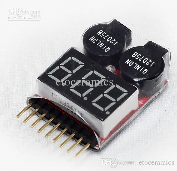 wholesale Lipo Battery Voltage Tester volt meter monitor checker Dual Speaker 1S-8S Low Voltage Buzzer Alarm 2 IN1 2S 3S 4S 6S 7S 8S
