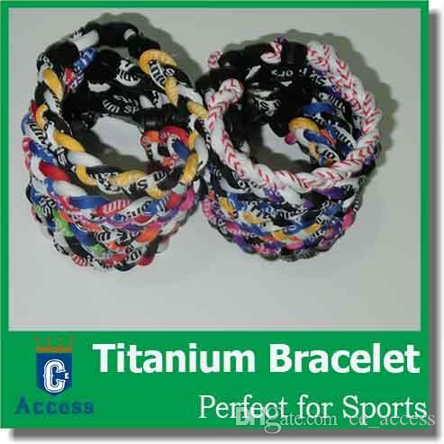 braccialetti e braccialetti fatti a mano di energia del silicone del titanio di salute di modo