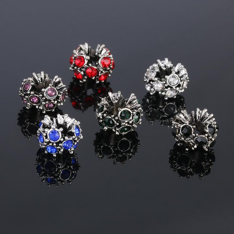 Chaude creux 120pcs / lot style pick ronde charmes européens en alliage de zinc antique argent perles avec cristal pour la mode bricolage bracelets bijoux Findin