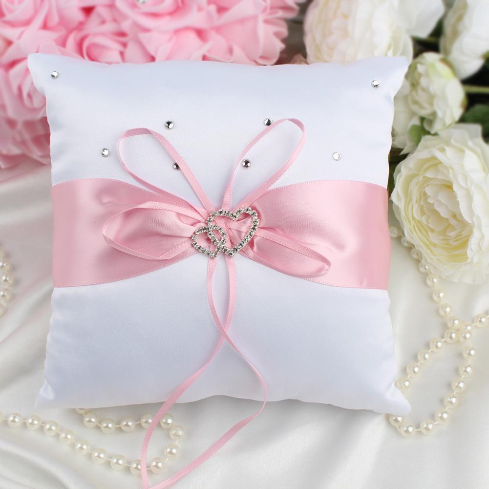 2018 Double Diamante Heart Ring Pillow Cushion Set For Wedding Decor ...