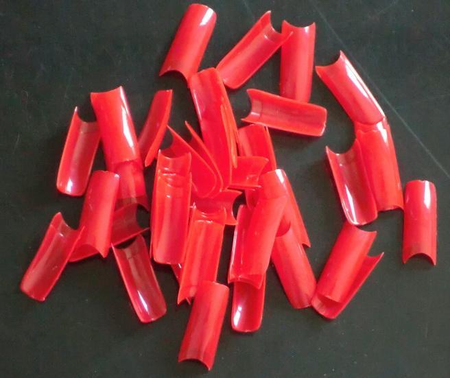 500pcs / påse röd färg diy hemma konstgjorda franska manikyr nagel tips falska falska naglar tips art