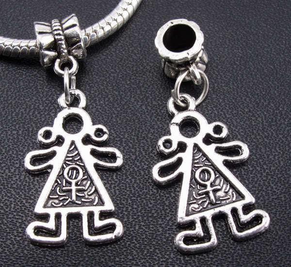 100PCS argent tibétain ange Pendentifs Charms Dangle Perles Bracelet Fit Europe 30mm