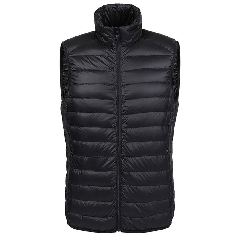 Otoño-Invierno pato abajo chaleco hombres Ultra Light 90% Duck Down chaleco chaleco flojo chaleco sin mangas chaqueta otoño negro gris azul marino