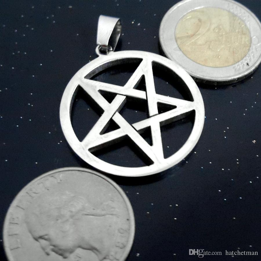 """Wicca Inverted Pentagram Stainless steel silver pendant and 24/"""" ball necklace"""