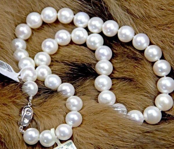Элегантный 10-11 мм Южное море натуральный белый жемчуг ожерелье 18 дюймов 925 серебряная застежка