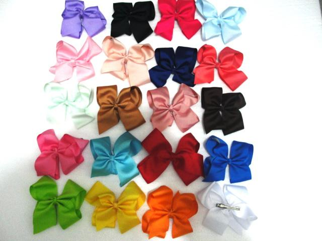 """Girls 5"""" Hair Bows Clips Solid Colors Pack of 5 Various Colors NEW"""