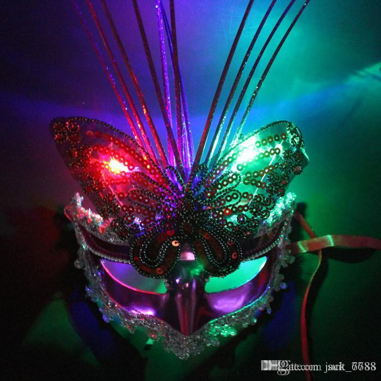 freie Verschiffenkosten leuchtende Schmetterlingsregen-Tanzaufführungen Masken-Parteischablone Großhandelsnachtmarkt-Blitzspielzeugfabrik-Direktverkauf