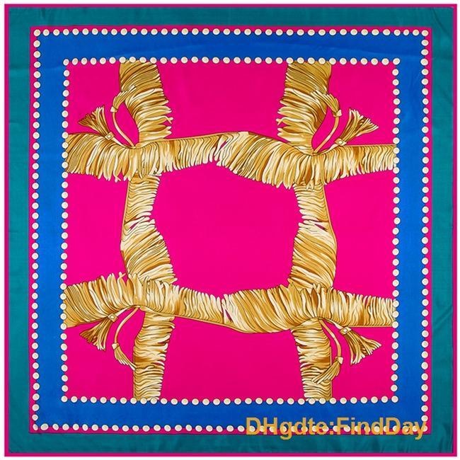 El nuevo patrón geométrico 100cm * 100cm con flecos bufanda de seda musulmán Xinjiang Sra.