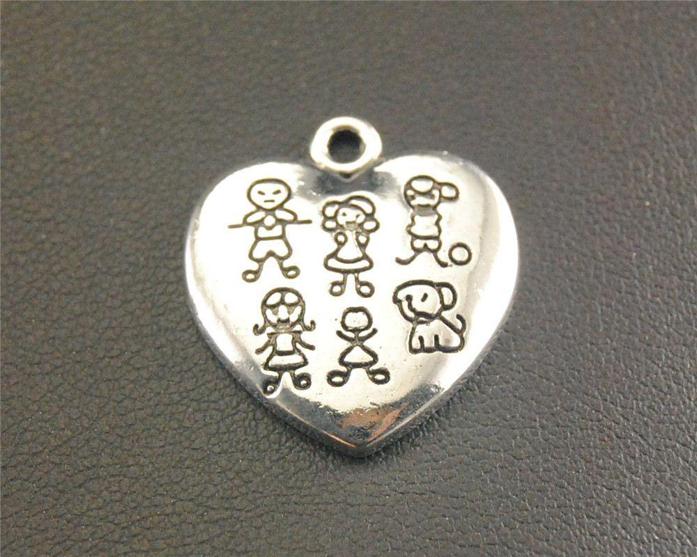20pcs antico Sliver ragazzi ragazze e cani modello cuore pendente di fascino collana fai da te risultati 19x22mm A1356
