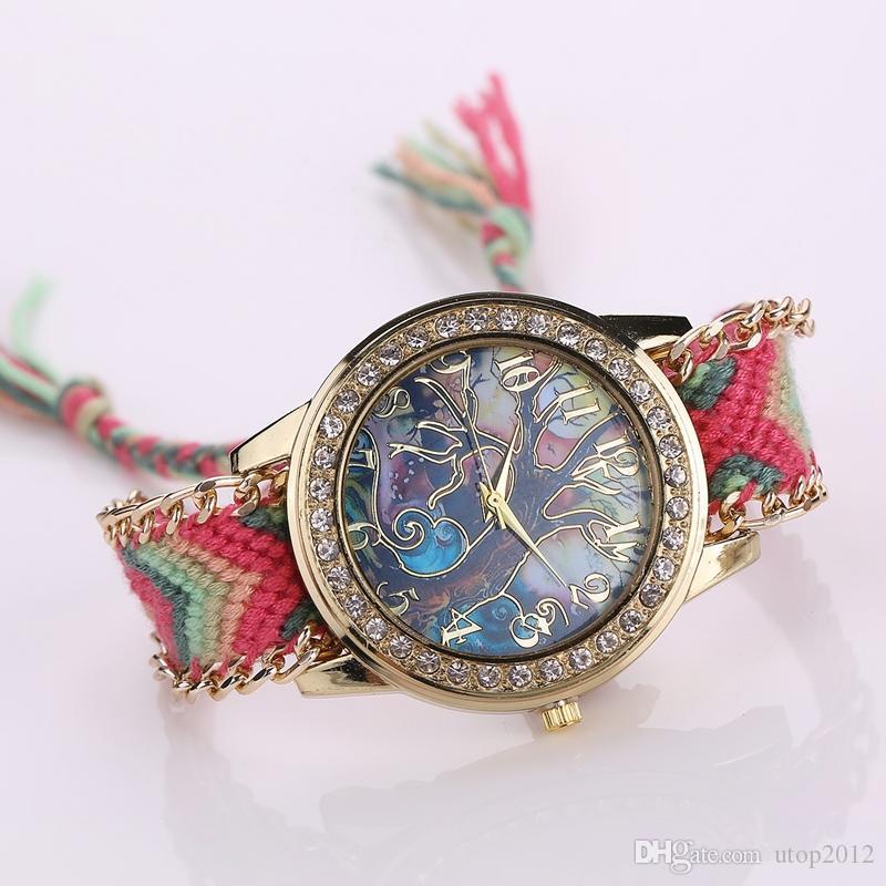 Fashion New Retro Casual Quartz Women Dress Watchs Wrap Golden Round Dial Bracelet Wrist Strap Vine Women's Knitted Watch
