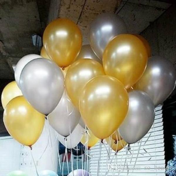 100pcs Latex Gold Round Balloon Party Silver Pearl Balloons Wedding Happy Birthday Anniversary Decor 10 inch new