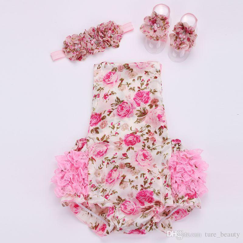 VENDA IMPERDÍVEL!!! Rendas bebê floral romper para criança cabeça sapato set; ropa bebe boutique roupas de verão infantil; roupas recém-nascidas menina 2 sets /