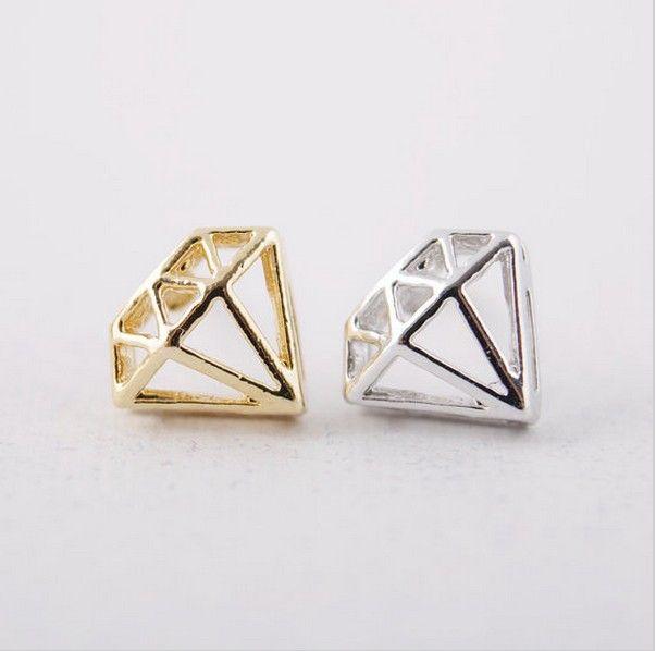 18 k or et argent protrusion de mode boucles d'oreilles en forme de diamant belle forme à l'aide de boulons Brincos boucles d'oreilles femmes vente