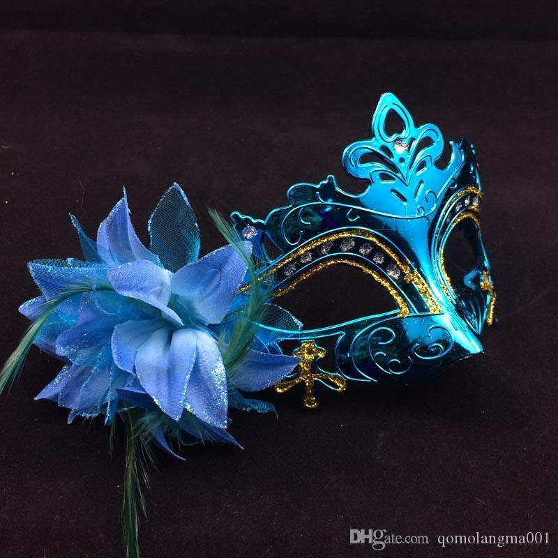 En venta chapado en oro máscaras del partido media cara mujer máscaras flor de la pluma a un lado veneciana mascarada máscara color de la mezcla envío gratis