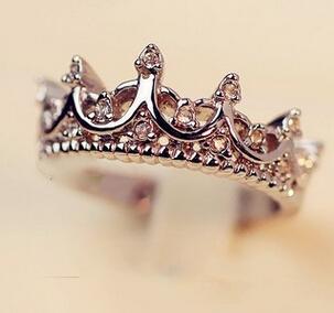 Corona di cristallo Anello per le donne Palazzo antico Regina gioielli in oro rosa Colore argento oro regalo carino