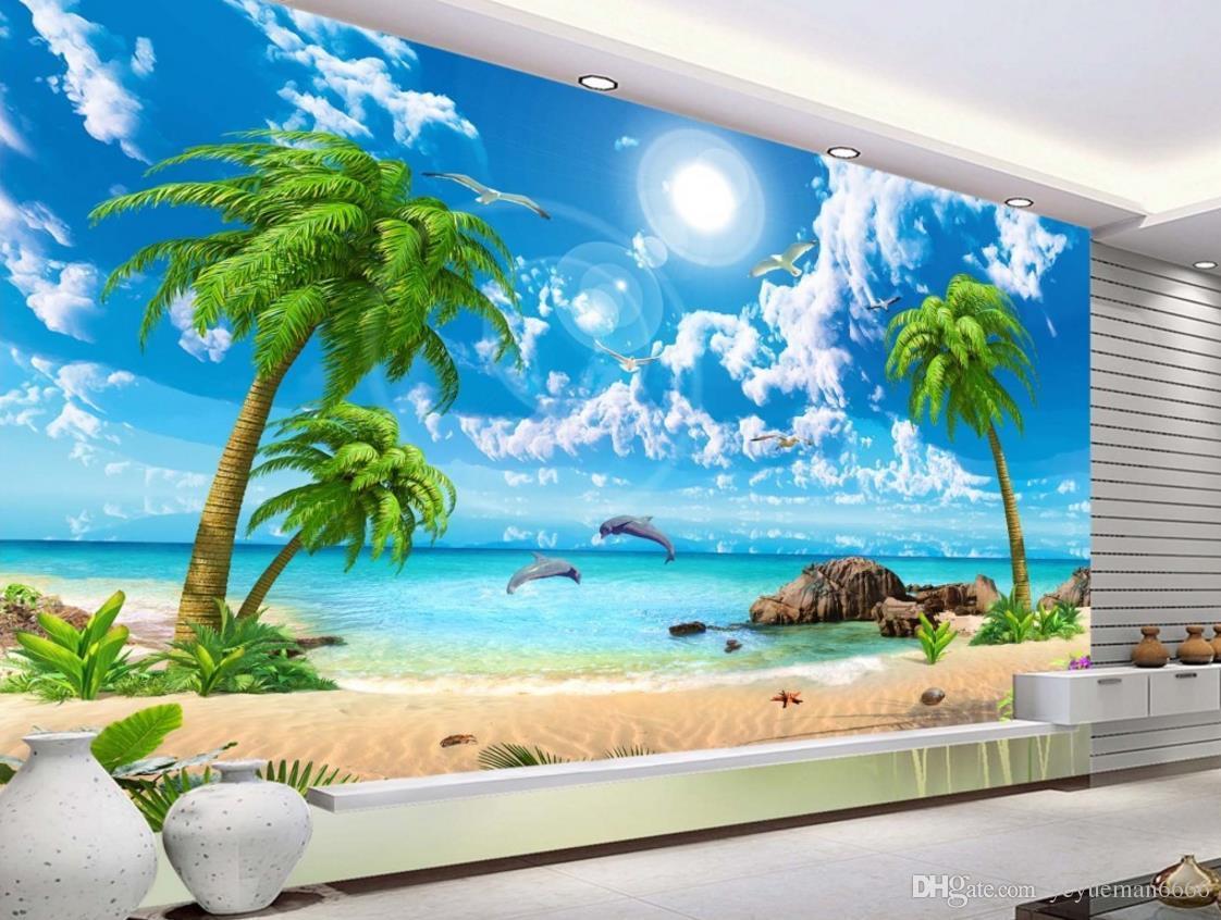 Acheter Hd Belle Plage De Coco De Mer Paysage Fond Decran 3d Pour Le Salon Sofa Tv Backdrop De 10 82 Du Yeyueman6666 Dhgate Com