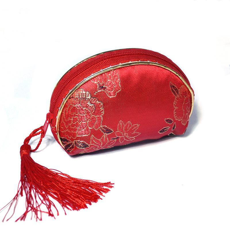 I fornitori che vendono i rifornimenti di cerimonia nuziale hanno personalizzato il piccolo sacchetto della caramella della borsa della caramella della piccola nappa sveglia cinese rossa oro libera il trasporto