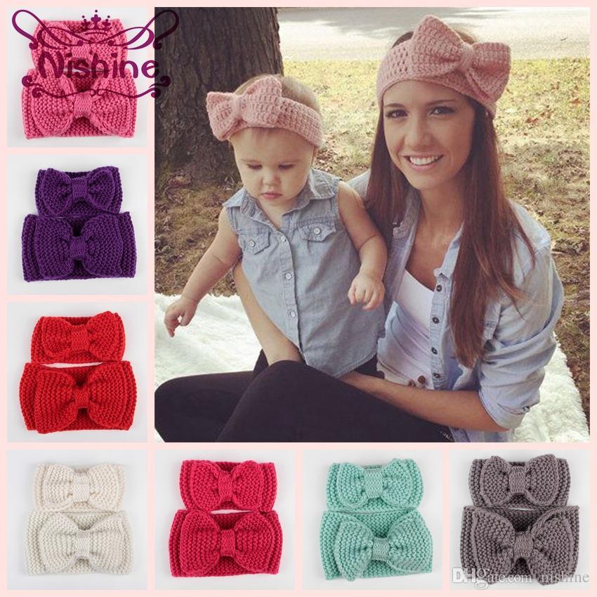 Nishine 2adet / set Anne ve Bebek Eşleştirme El yapımı Örme Bow Kafa Kadınlar Kafa Bebek Çocuk Tığ Saç Bantları Saç Aksesuarları