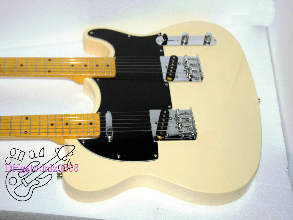 Custom Shop Cream Double Neck Electric Guitar Maple fingerboard free shipping