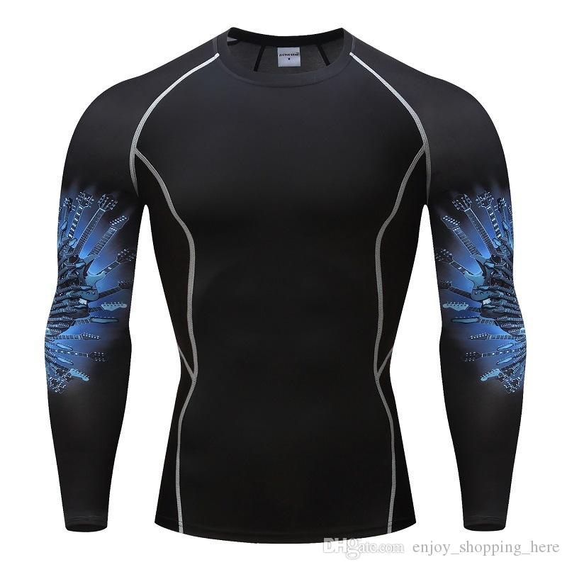 Muscle Men Compression Tight Skin t Shirt 3D Prints arm long sleeves Rashguard Fitness Base Layer Weight Lifting Male Tops crossfit