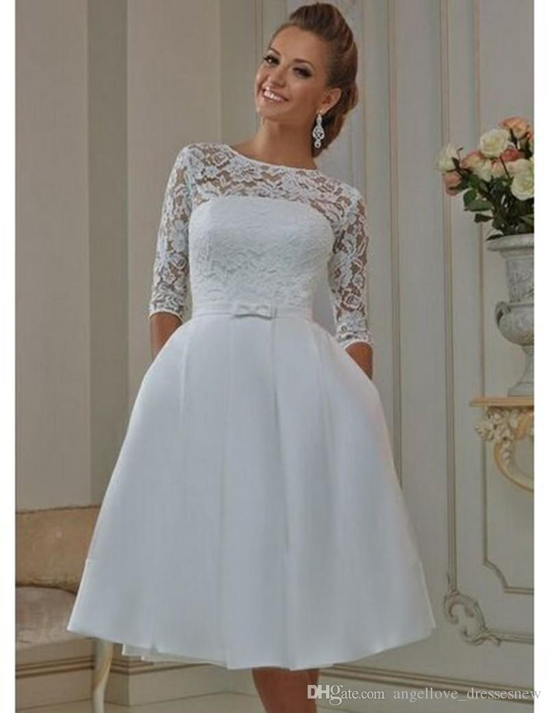 Cheap Tea Length Short Wedding Dresses With Bow Half Sleeve Vintage ...