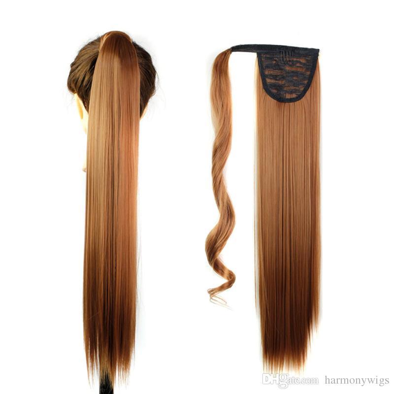 Clipe cabelo rabo de cavalo sintético desenhosring pônei cauda de cabelo liso partes 24 polegadas 120g extensões de cabelo mulheres moda