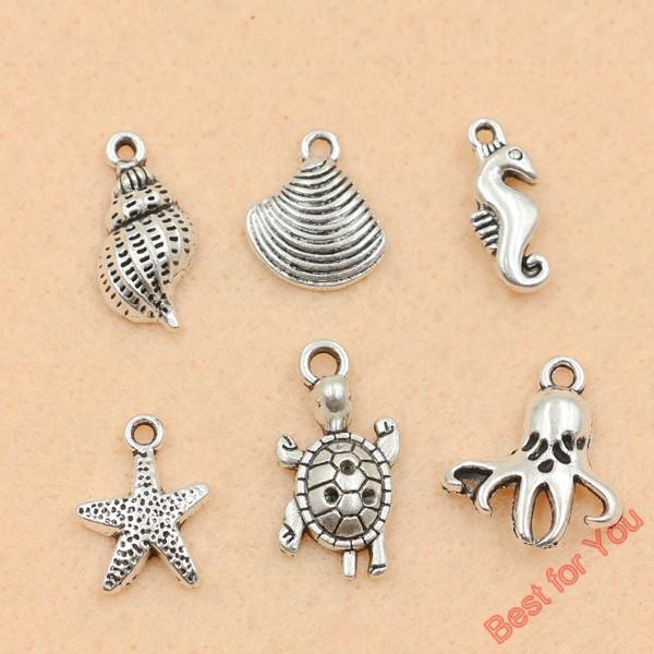 100 stücke Mixed Tibetischen Silber Ton Shell Starfish Charms Anhänger für Schmuck Handgemachte Fertigkeit DIY 6 stile schmuck machen