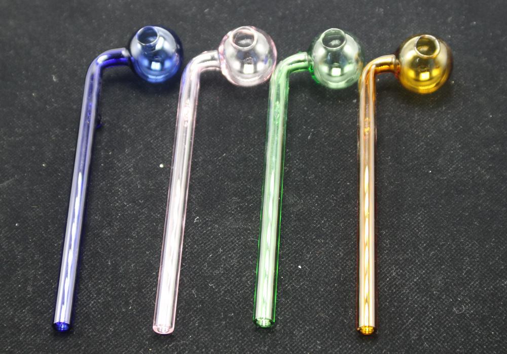 Auf Lager Brenner Gebogene Glasölglasrohre Hochwertige Tabakspfeifen mit verschiedenen farbigen Glas-Balancer schnell Verkäufer