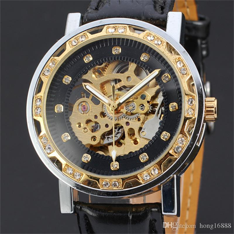 Fashion Winner Black Leather Band Stainless Steel Skeleton Mechanical Watch For Man/women Gold Mechanical Wrist Watch Free Shipping