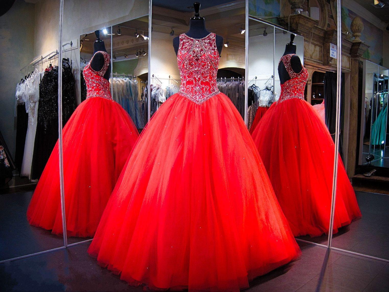 2020 rosso brillante Quinceanera Sheer paletta in rilievo di cristallo di Tulle Apri Indietro Piano Lunghezza lungo il corsetto di promenade Masquerade palla camici