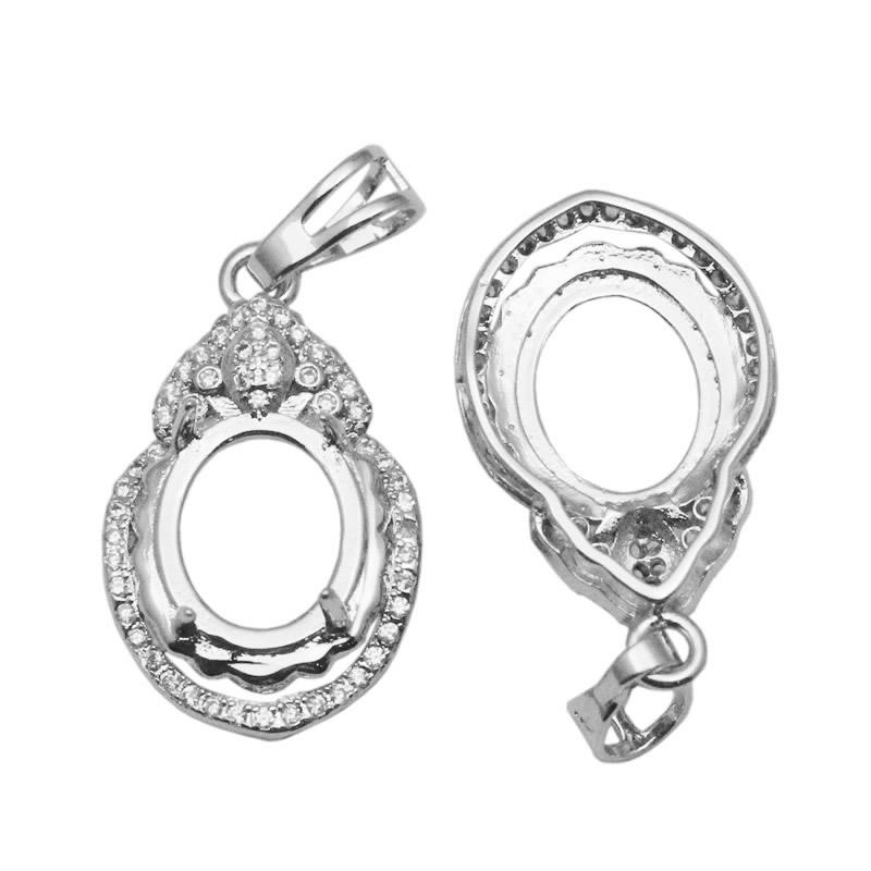 Beadsnice стерлингового серебра литье установка для граненый 9x11mm овальной огранки драгоценный камень винтажный стиль подвеска ожерелье делая ID 34054