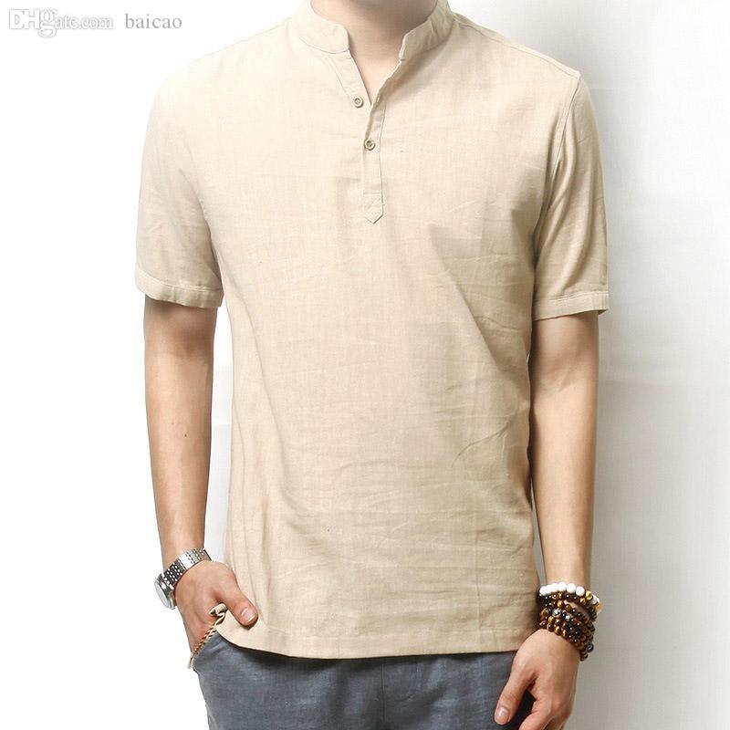 Großhandels-Sommer Men `s Leinen Baumwolle mischte Kurzhülse Hemd-Stehkragen-Breathable bequeme traditionelle chinesische Art-Hemden für Männer