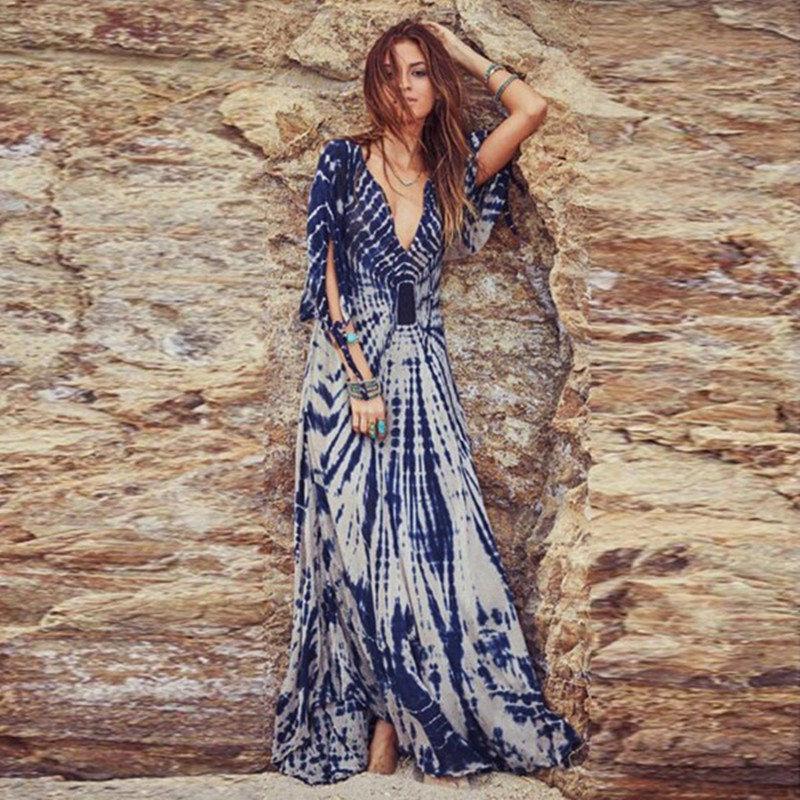 Novo Verão Boho Praia Longo Vestido Moda Feminina Floral Impressão Profunda Decote Em V Meia Manga Sexy Maxi Vestido Casual Boêmio Vestido