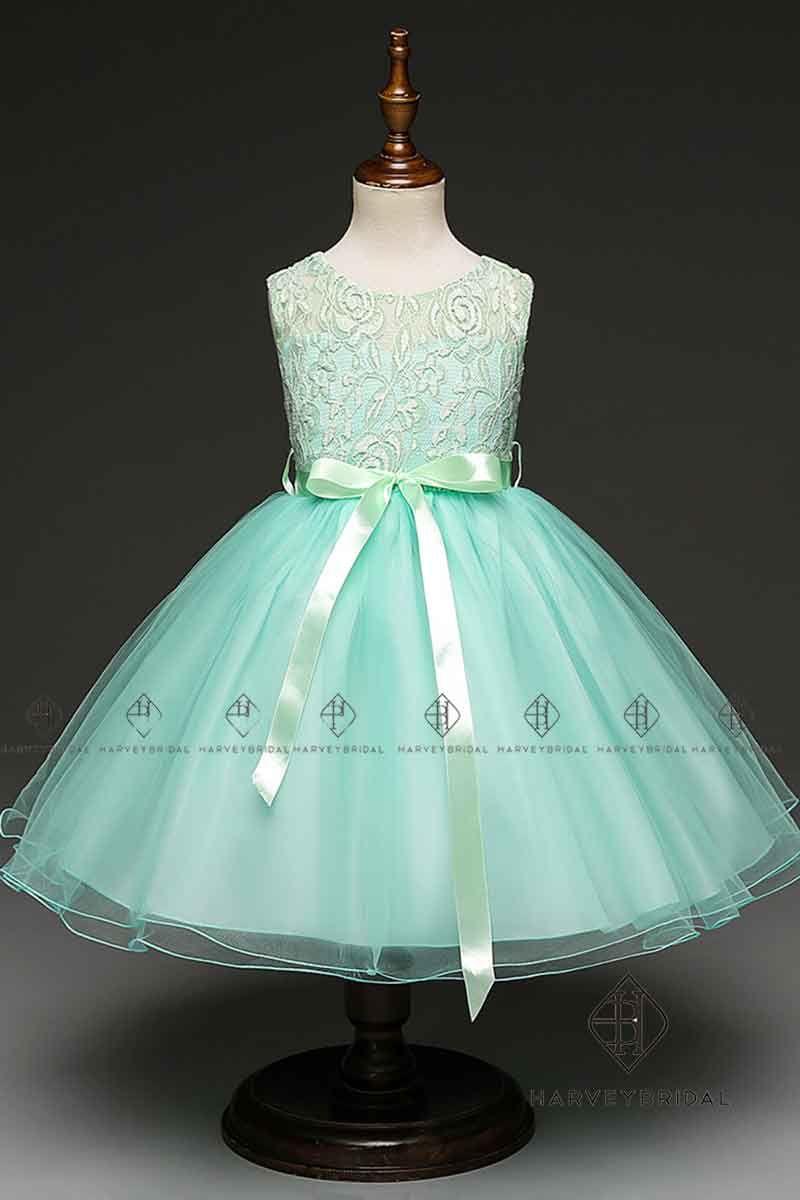 Compre Harveybridal Bonita Verde Menta Encaje Vestidos De Niña De Las Flores Tulle Vestidos De Fiesta De Niña De Tul Con Faja Imagen Real Chico