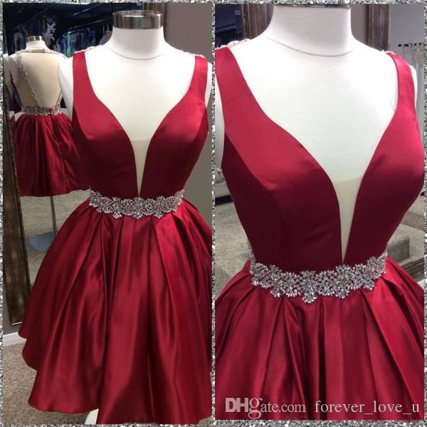 Sexy Deep V Neck Sleeveless Short Homecoming Dresses Exquisite Crystals Backless Prom Party Gowns Custom Made in Dark Red