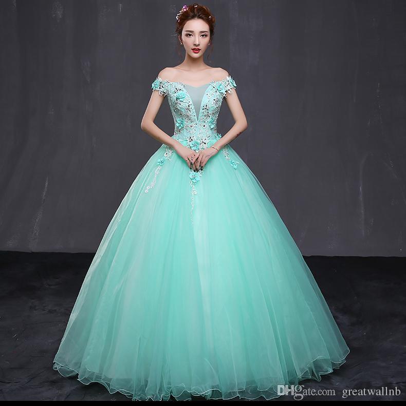 100% echtes helle grüne perlen blume thema eignung ballkleid mittelalterlich kleid renaissance queen victoria cosplay ballkleid belle ball